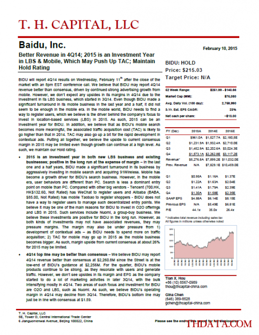 BIDU: Better Revenue in 4Q14; 2015 is an Investment Year in LBS & Mobile, Which May Push Up TAC; Maintain Hold Rating