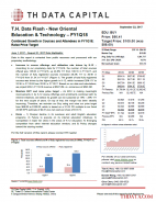 T. H. Data Flash – New Oriental Education & Technology (EDU) – FY1Q18: Continued Growth in Courses and Attendees in FY1Q18; Raise Price Target