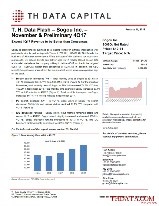 SOGO: T. H. Data Flash - Sogou Inc. (SOGO) - November & Preliminary 4Q17: Expect 4Q17 Revenue to be Better than Consensus