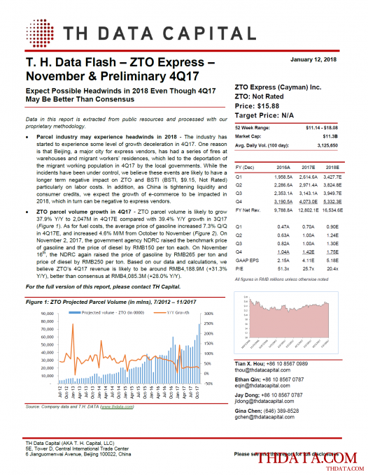 T. H. Data Flash - ZTO Express (ZTO) - November & Preliminary 4Q17: Expect Possible Headwinds in 2018 Even Though 4Q17 May Be Better Than Consensus