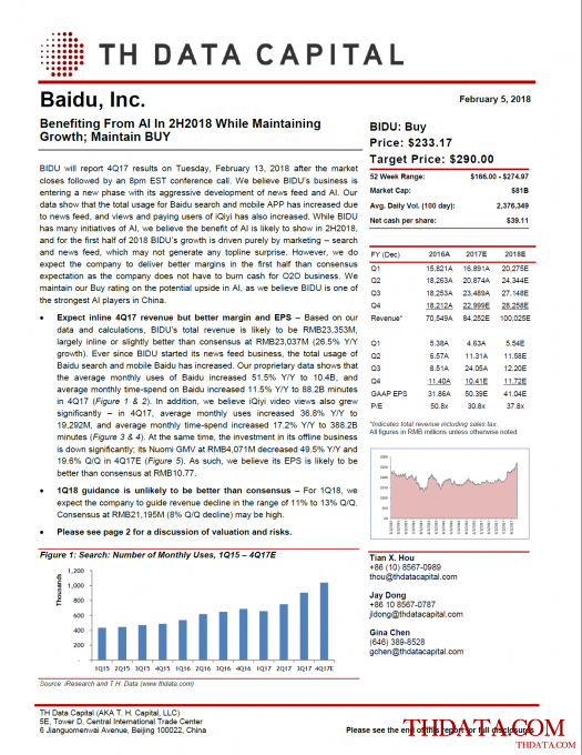 BIDU: Benefiting From AI In 2H2018 While Maintaining Growth; Maintain BUY