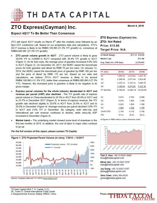 ZTO: Expect 4Q17 To Be Better Than Consensus
