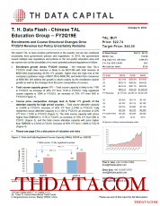 T. H. Data Flash – TAL Education Group (TAL) – FY2Q19E: Enrollments and Course Structural Changes Drive FY2Q19 Revenue but Policy Uncertainty Remains