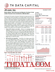 JD: Expect Better 3Q18 Revenue but Margins Continue To Be Under Pressure from Investments; Maintain BUY