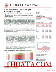 T. H. Data Flash – iQIYI Inc. (IQ) –November & 4Q18: Higher Costs And Lower Growth In Ad Are Likely To Put Pressure on Both Topline Growth and Margin; Cautious Outlook on 2019