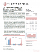 T. H. Data Flash – Chinese TAL Education – August & FY2Q20E: High Growth In Course and Attendee Capacity Drive Better FY2Q20; Maintain BUY