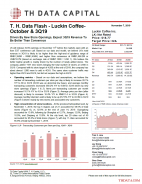 T. H. Data Flash - Luckin Coffee - October & 3Q19: Driven By New Store Openings, Expect 3Q19 Revenue To Be Better Than Consensus