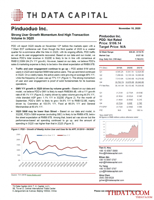 PDD: Strong User Growth Momentum And High Transaction Volume In 3Q20