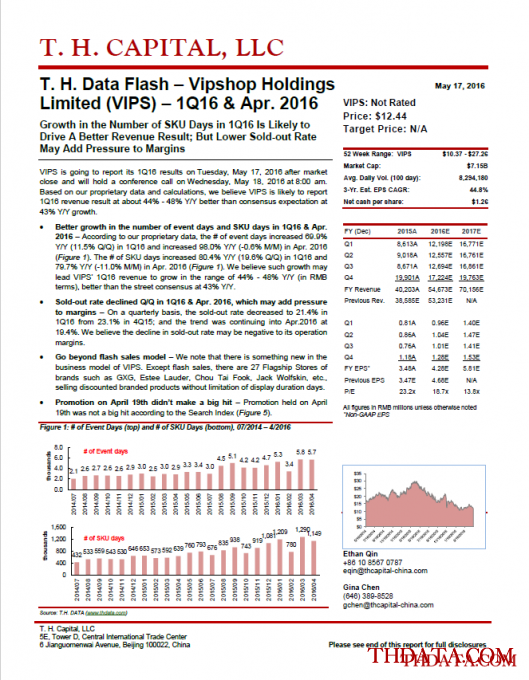 T.H. Capital - T. H. Data Flash – Vipshop Holdings Limited (VIPS) – 1Q16 & Apr. 2016