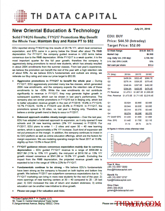 New Oriental Education & Technology: Solid FY4Q16 Results; FY1Q17 Promotions May Benefit the Whole Year; Maintain Buy and Raise PT to $52