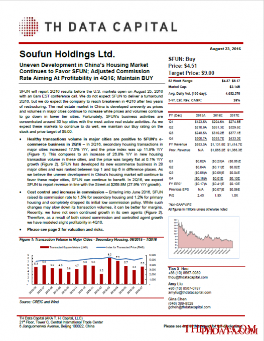 Soufun Holdings Ltd.: Uneven Development in China's Housing Market Continues to Favor SFUN; Adjusted Commission Rate Aiming At Profitability in 4Q16; Maintain BUY